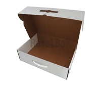 Laminated box with plastic handle